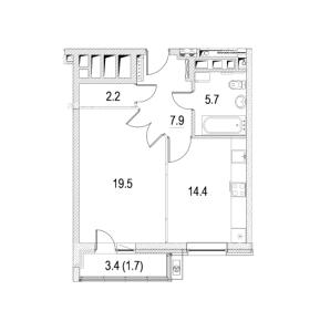 Планировка однокомнатной квартиры в Фестиваль Парк